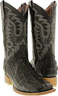 Team West - Men's Black Crocodile Back Print Leather Cowboy Boots Square Toe
