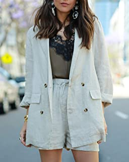 The Drop Women's Natural Oversized Double Breasted Linen Blazer by @paolaalberdi
