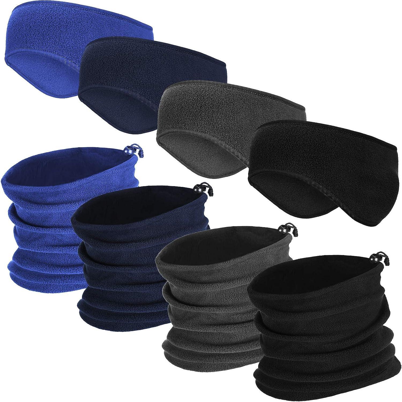 8 Pieces Drawstring Winter Neck Gaiter Fleece Ear Warmers Headband Windproof Neck Warmer Face Scarf for Men Women(Blue, Grey, Navy Blue, Black)