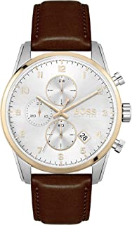 Hugo Boss Black Men'S Silver Dial Brown Leather Watch - 1513786