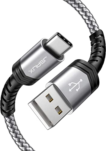 USB Type C Cable 3A Fast Charging [2-Pack 6.6ft], JSAUX USB-A to USB-C Charge Braided Cord Compatible with Samsung Ga...