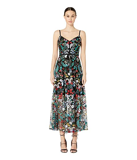 ML Monique Lhuillier Floral Embroidered Mesh Dress