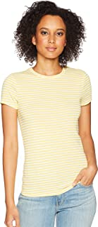 Three Dots Women's Desert Stripe Kennedy Short Sleeve Tight Top
