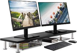 پایه دو مانیتور بزرگ برای نمایشگرهای رایانه - پشتیبان گیری جامد بامبو از سنگین ترین مانیتورها ، چاپگرها ، لپ تاپ ها یا تلویزیون ها - تنظیم کننده عالی قفسه برای لوازم جانبی میز اداری