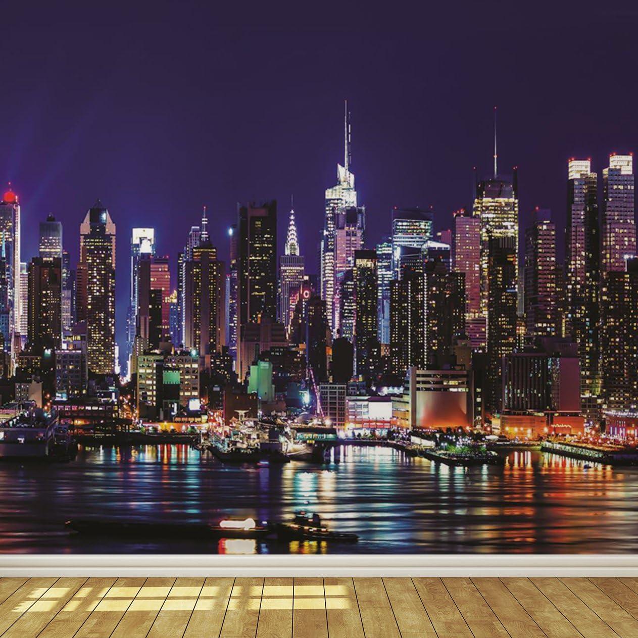 New York City Skyline Bei Nacht 7 Tapete Wandbild Papier 115 G M Xx Large 368 X 258 Cm B X H Amazon De Baumarkt