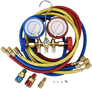 5FT AC Diagnostic Manifold Freon Gauge Set Fits for R134A R12, R22, R502, with Couplers,..