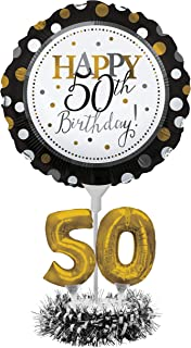 black and white 50th birthday cake