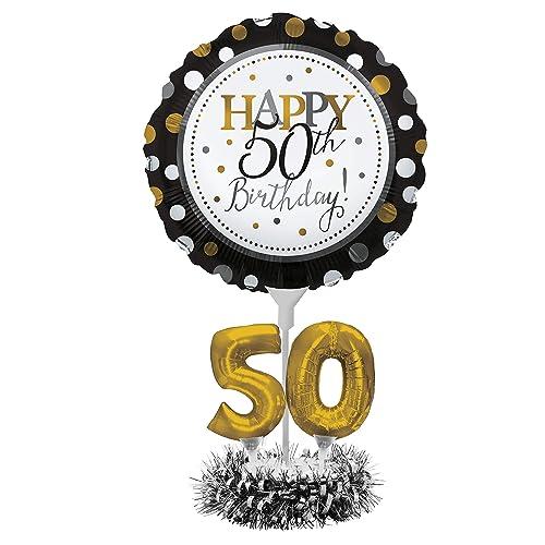 50th birthay 15black silver foil table centrepiece