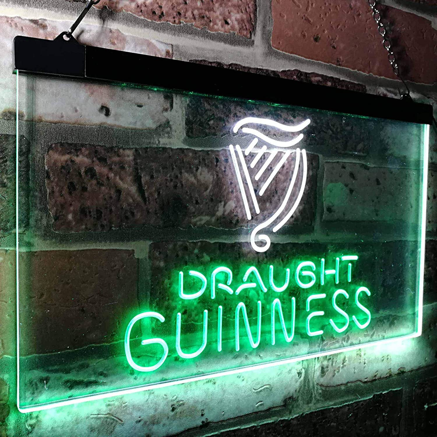 Zusme Guinness Draught on tap Beer Bar Decor Novelty LED Neon Sign Weiß + Grün W40cm x H 30cm