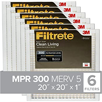 Filtrete 20x20x1, AC Furnace Air Filter, MPR 300, Clean Living Basic Dust, 6-Pack (exact dimensions 19.69 x 19.69 x 0.81)