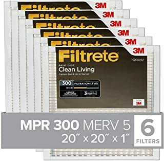 Filtrete 20x20x1 MPR 300 AC Furnace Air Filter, Clean Living Basic Dust, 6-Pack