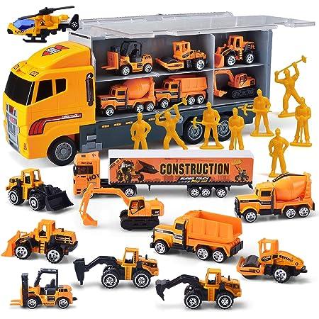 JOYIN Camión de ingeniería 11 En 1 Diecast Coche Juguetes Vehículo de Construcción Carrier Truck para Niños