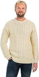 SAOL 100% Merino Wool Men's Irish Traditional Aran Crew Neck Cable Knit Sweater Pullover