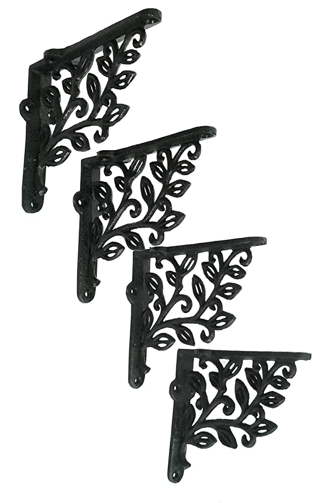 NACH js-90-422S Cast Iron Leaf Design Decorative Wall Mount Shelf Bracket, Small 4.9 x 1.2 x 5.5 Inches, Black, 4 Pack