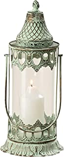 WHW Whole House Worlds Grand Tour Temple Lantern Hurricane, Distressed Bronze Metal, Green Vintage Patina, for LED or Wax Candles, 16 1/2 Inches (42 cm) Tall, from The Global Chic Collection