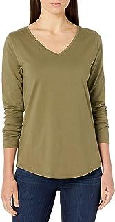 Amazon Essentials Camiseta de Manga Larga con Cuello en V, Holgada, 100% algodón Camiseta para Mujer