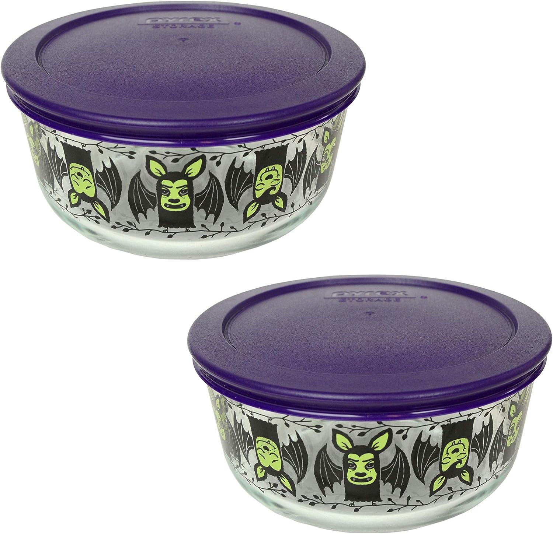 Pyrex 2 7201 4 Cup Bat Bowls 品質検査済 Plum Pl 専門店 7201-PC Glass