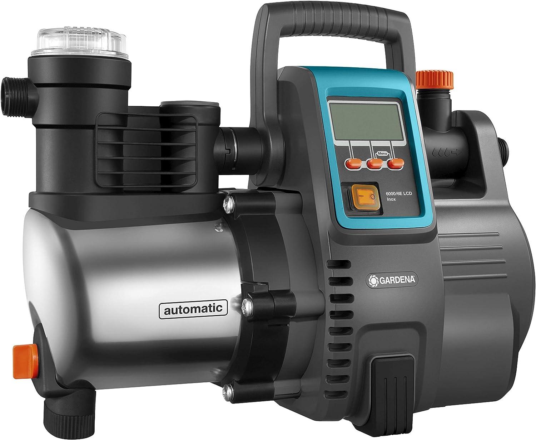 Gardena Grupo a presión electrónico 6000/6E LCD Inox Premium, bomba doméstica con caudal de 6000 l/h, motor 1300 W, pantalla LCD, carcasa de la bomba de acero inoxidable de gran calidad (1760-20)