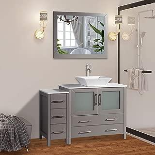 Vanity Art 48 inch Single Sink Bathroom Vanity Combo Set 5-Drawers, 1-Shelf, 2 Cabinet White Quartz Top and Ceramic Vessel Sink Bathroom Cabinet with Free Mirror - VA3136-48-G