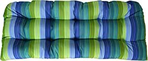 RSH Decor Sunbrella Seville Seaside Large Wicker Love Seat Cushion - Indoor/Outdoor Wicker Loveseat Settee Tufted Cushions - Periwinkle Blue, Turquoise, Olive/Lime Green Stripe