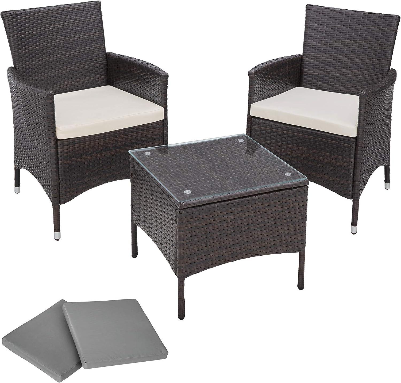 TecTake Aluminium Poly Rattan Gartenmbel Gartengarnitur Gartenset Sitzgruppe schwarz mit Sitzkissen und 2 Bezüge, Edelstahlschrauben - Diverse Farben - (Schwarz-Braun  Nr. 401471)