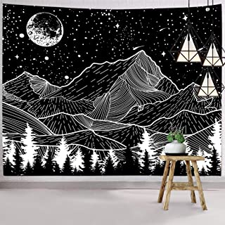 """Hexagram Mountain Tapestry Moon Tapestry Wall Hanging Black and White Forest Tree Wall Tapestry Home Decor 51.2""""(H) x 59.1..."""