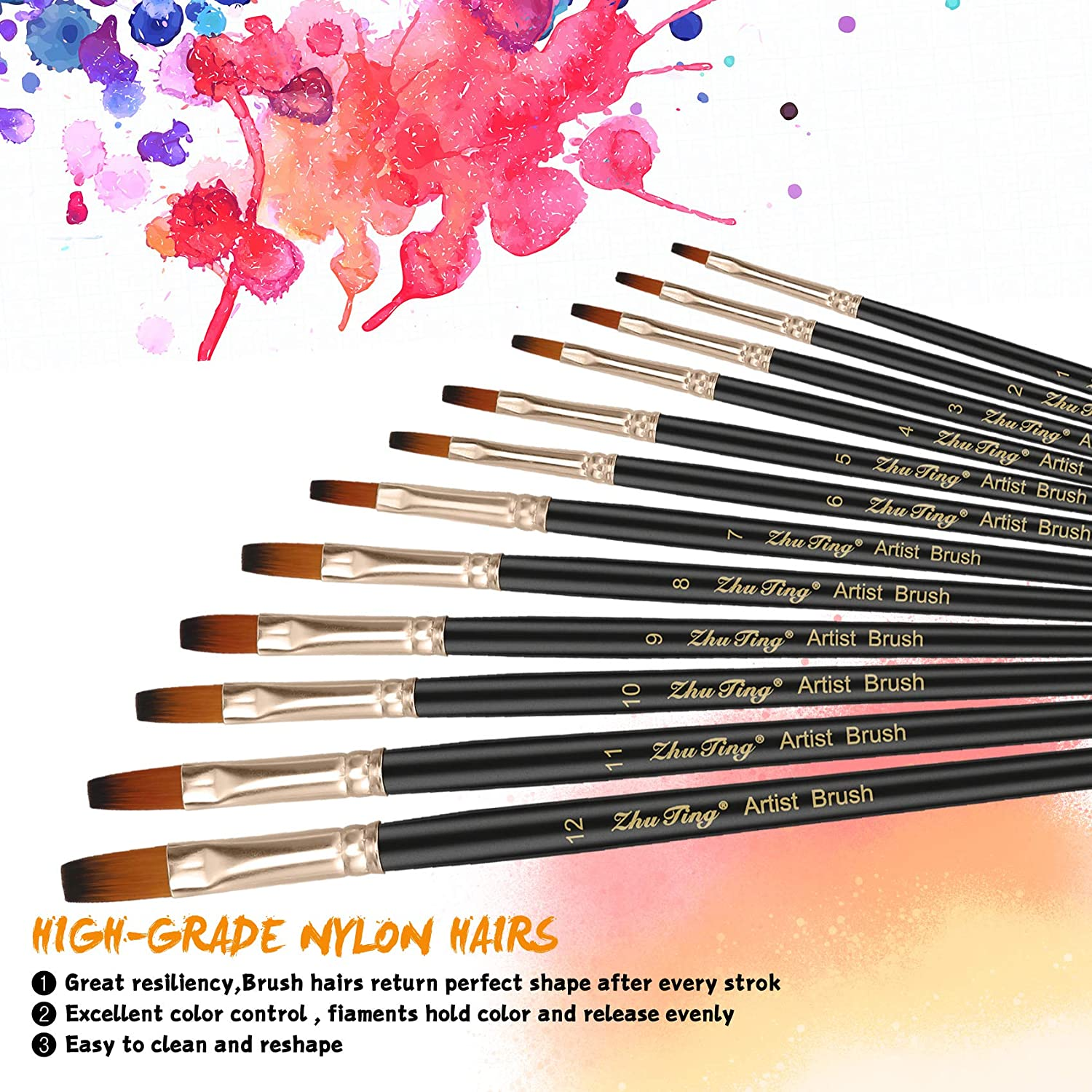 Professional Fine Tip Paint Brush Set Round Pointed Tip Nylon Hair artist acrylic brush for Acrylic Watercolor Oil Painting Black Flat Silithus Paint Brushes 12 Pieces Set black