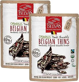 Belvas Belgian Thins Organic Dark Chocolate with Quinoa and Goji, 4.23 oz - 2Pk