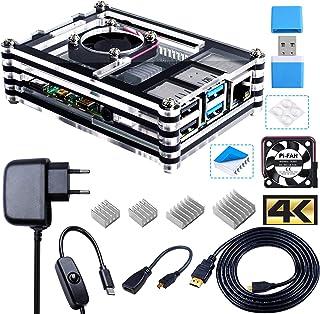 Bruphny Caja Kit para Raspberry Pi 4 con Ventilador, 5V 3A USB-C Cargador, 4 x Disipador, 1.8M Micro-HDMI Cable, USB Lecto...