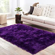 LOCHAS Soft Faux Sheepskin Fluffy Rugs Faux Fur Area Rug, Comfy and Furry Carpet, Long Wool Washable Rugs for Bedroom Kids Room, 3x5 Feet Rectangular Purple