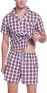 Pijamas Hombre Verano Corto Pijama Hombre Algodon Ropa para Dormir de Manga Corta 2 Piezas Camiseta y Pantalones Cortos para Hombres