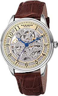 Akribos Skeleton Automatic Mechanical Men's Watch – Crocodile Embossed Genuine Leather Strap – Wristwatch See Through Dial -Great for Father's Day - AK807