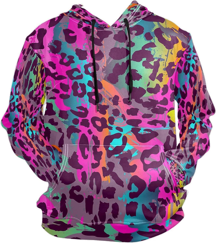Men's Sport Hoodie Colorful Leopard Print Big and Tall Hoodies for Men Women Oversized Hooded Sweatshirt Hip Hop Pullover Hoodie Midweight Hood for Boys Girls