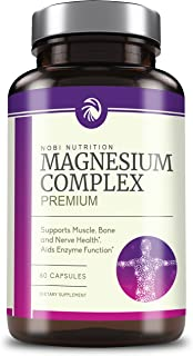 Nobi Nutrition High Absorption Magnesium Complex - Premium Mag Supplement for Sleep, Leg Cramps, Muscle Relaxation & Recovery - for Women & Men - Pure, Gluten-Free, Non-GMO Pills - 60 Vegan Capsules