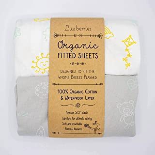 Luvberries - 100% Organic Cotton Waterproof Sheets (Set of 2) for The 4moms Breeze Playard, Baby and Toddler, Fitted Playa...