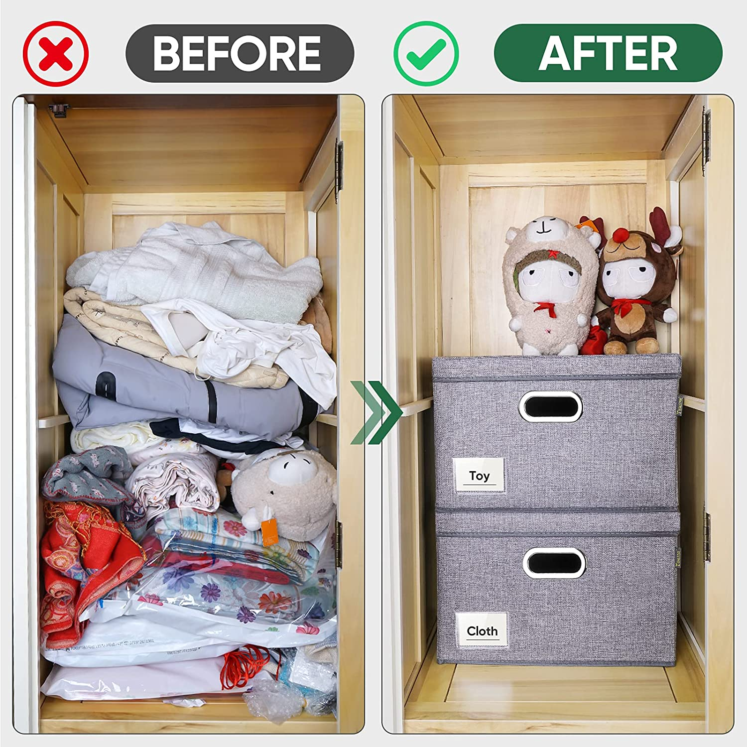 BALEINE Storage Bins with Lids, Foldable Linen Fabric Storage Boxes with  Lids, Collapsible Closet Organizer Containers with Cover for Home Bedroom  ...
