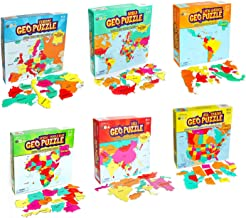 GeoToys — Set of 6 GeoPuzzles in Individual Boxes — Educational Kid Toys for Boys and Girls, 50+ Piece Geography Jigsaw Puzzles, Jumbo Size Kids Puzzles — Ages 4 and up