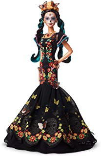 ​Barbie Collector: Dia De Muertos Doll, 11.5-Inch, Brunette, Wearing Embroidered Dress, Flower Crown & Skull Makeup with Doll Stand and Certificate of Authenticity
