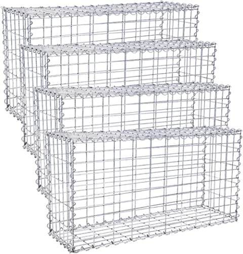 SONGMICS Lot de 4, Gabions à Pierres, Cages métallique, Maille Fine 5 x 10 cm, Acier galvanisé antirouille, 100 x 50 ...