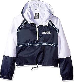 Ultra Game NFL Women`s Quarter Zip Hoodie Windbreaker Play Action Jacket