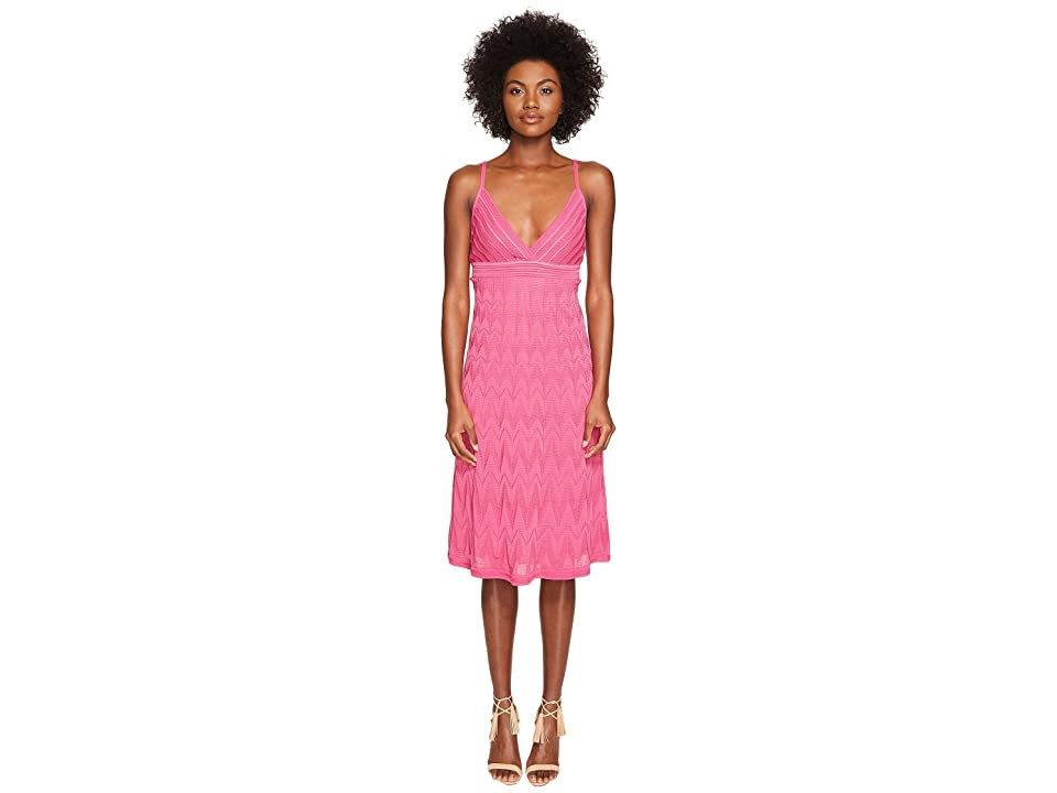 M Missoni Solid Knit Skinny Strap Dress (Pink) Women