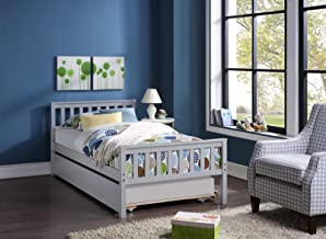 Twin Bed Kids Bed with Trundle, Platform Solid Wood Bed, Wood Bed for Kids Teens Family Guests, Easy Assembly (Grey)