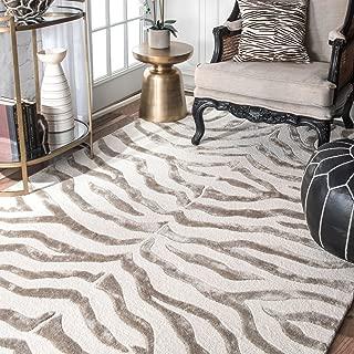 nuLOOM Zebra Hand Tufted Plush Wool Rug, 4' x 6', Grey