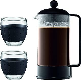 Bodum - K1548-01-2 - Brazil Set - Cafetera 8 Tazas - 1,0 l + 2 Vasos de borosilicato - 0,35 l: Amazon.es: Hogar