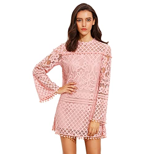 64d2531a05 SheIn Women's Crochet Pom-Pom Sheer Lace Bell Sleeve Dress
