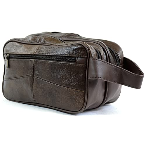 60290268ac Men s Leather Toiletries   Travel   Holiday   Over Night   Weekend Wash Bag  ( Brown