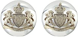 Crest Clip Button Earrings