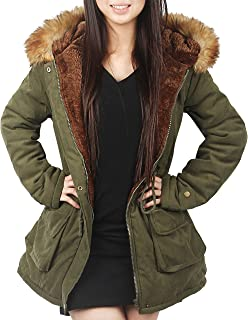 4How Womens Hooded Parka Coat Long Winter Jacket Faux Fur Army Green Black