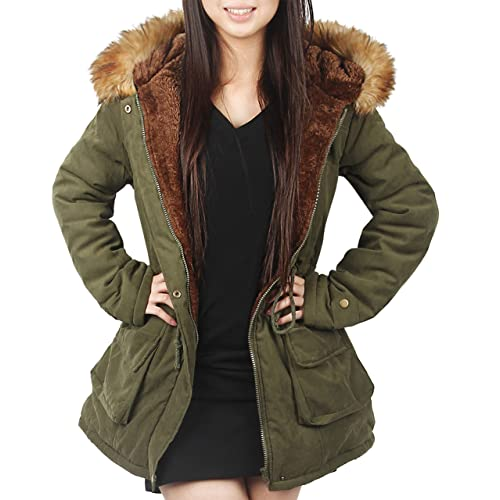 73d7a134e25c 4HOW Womens Hooded Parka Jacket Winter Coat Warm Faux Fur Parkas Outdoor