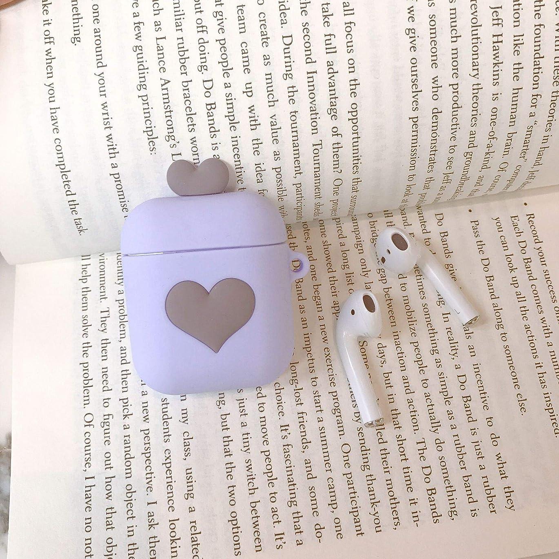 くびれた間に合わせ太平洋諸島HEADPHONE CASE HOME 愛シリコーンairpodsプロテクターかわいい女の子の心のBluetoothワイヤレスヘッドセット漫画ボックスが適用されます。 (Color : Purple)